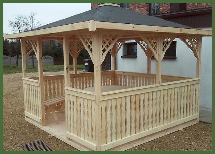 Meble Ogrodowe Z Drewna Sosnowego : Altana wykonana z drewna sosnowego wysokiej jakości , o wymiarach 3 x